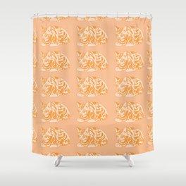 Cute Ginger Cat Pattern Shower Curtain