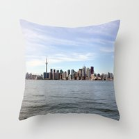 toronto Throw Pillows featuring Toronto by Angela Fang