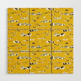 Tall ships in yellow Wood Wall Art