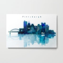Watercolor cityscape of Pittsburgh city Metal Print