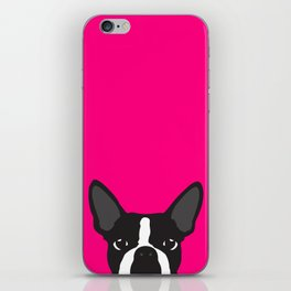Boston Terrier Hot Pink iPhone Skin