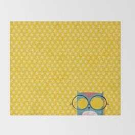 Peeking owl with glasses Throw Blanket