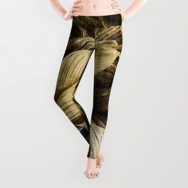 Gold Palm Leaves on Black - Tropical Vibes Leggings
