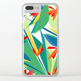 Tropical floral composition, exotic flowers, birds of paradise. Clear iPhone Case