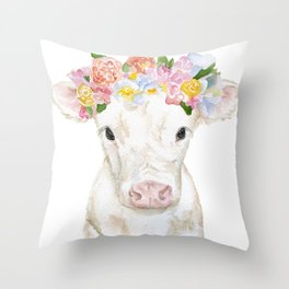 White Calf with Floral Crown Throw Pillow