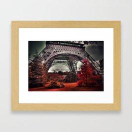 Surreal Eiffel Tower, Paris, France, red trees Framed Art Print