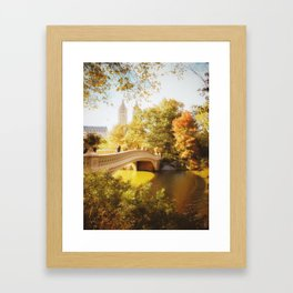 New York City - Autumn - Central Park's Bow Bridge Framed Art Print