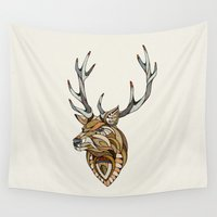 poker Wall Tapestries featuring Deer // Animal Poker by Andreas Preis