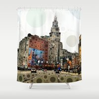 cleveland Shower Curtains featuring Downtown Cleveland by Rachel Barrett
