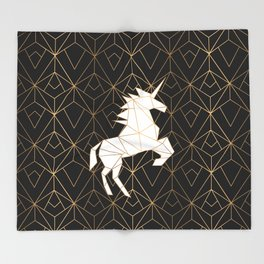 Geometric Unicorn Throw Blanket