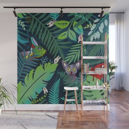 peek-a-boo jungle animals pattern Wall Mural
