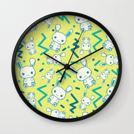 80's styled Easter illustration. Cute bunny included! Wall Clock