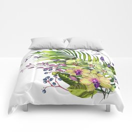 Bouquet, Orchid, Bud, Leaf Clipart, watercolor, handpainted, floral, flower, design, style, troical Comforters