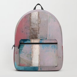 Morning Light: a minimal abstract mixed-media piece in pink gold and blue by Alyssa Hamilton Art Backpack