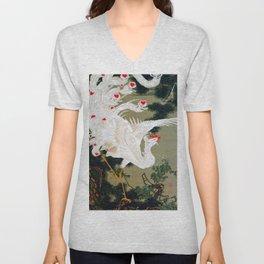 Ito Jakuchu - Old Pine Tree And White Phoenix - Digital Remastered Edition Unisex V-Neck