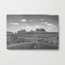 On the Open Road - Monument Valley - b/w Metal Print