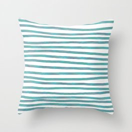 Ocean Green Hand-painted Stripes Throw Pillow