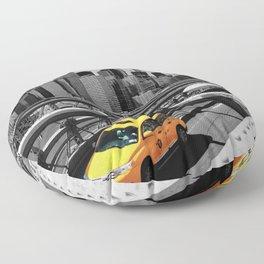 Yellow cab on Brooklyn Bridge, Manhattan, New York, USA. Floor Pillow
