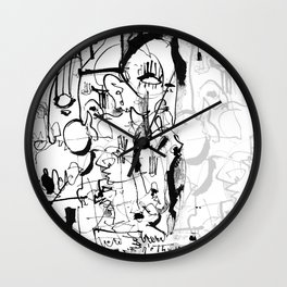 Inside the Mind - b&w Wall Clock