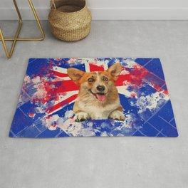 Corgi Portrait with Britain Flag Rug