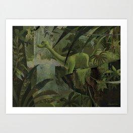 Dinosaur In The Jungle Art Print