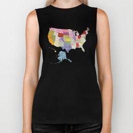 United States in Flowers Biker Tank