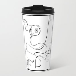 box breaker ink drawing stylized black and white character by Jordan Eismont Travel Mug