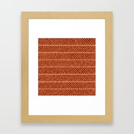 Herringbone Rust and Peach Framed Art Print
