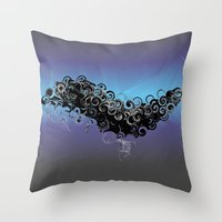 cthulu Throw Pillows featuring Cthulu's Flight  by Watch House Design