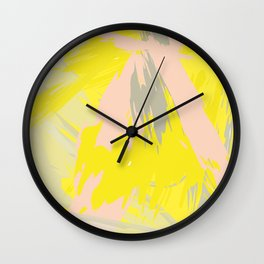 Lovely Summer - Abstract - Coral, Yellow, Sand Wall Clock