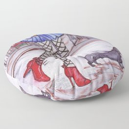 Walking the city with my Dog (Dachshund) Floor Pillow