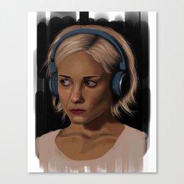 Riley Blue Headphones Portrait Canvas Print