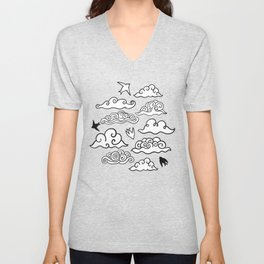 Doodle clouds and swallows. Cloudscape pattern with birds. Unisex V-Neck