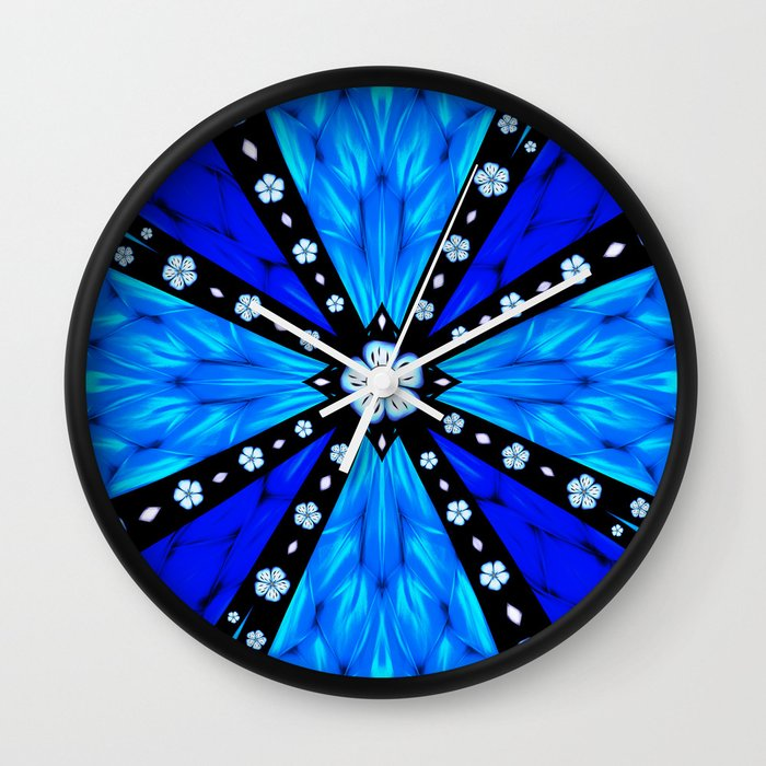 Onyx Beams of Flowers and Gems Wall Clock