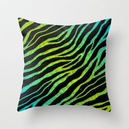 Ripped SpaceTime Stripes - Cyan/Lime Throw Pillow