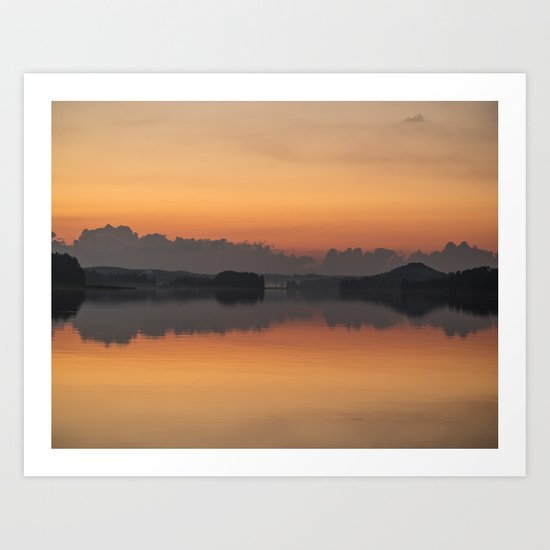 Sunset colors and reflection on the lake surface - magical atmosphere in Scandinavian night Art Print