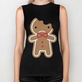 Sad Bitten Cookie Cute Gingerbread Man Biker Tank
