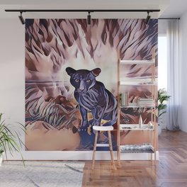 Black Panther Fire Cat Wall Mural