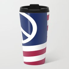 Peace and Love USA Flag Metal Travel Mug