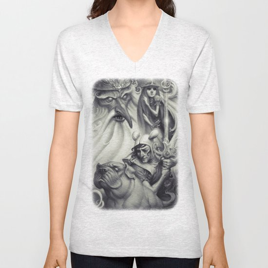 Another Castle :: Duotone Print Unisex V-Neck
