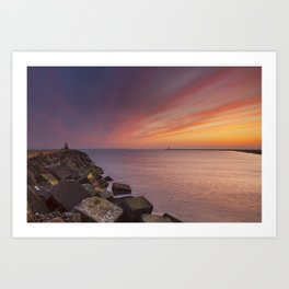 I - Sunset over harbour entrance at sea in IJmuiden, The Netherlands Art Print