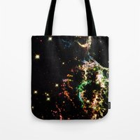 cosmic Tote Bags featuring Cosmic by 2sweet4words Designs