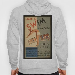 Vintage poster - Learn to swim Hoody