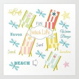 Ocean Way Pacific - Beach Life - tangerine Art Print