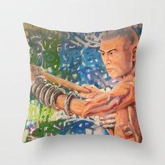 Stop Biting 3 Throw Pillow