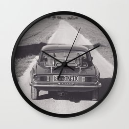 Triumph spitfire on a gravelly road in southern Italy, english sports car, fine art photography Wall Clock