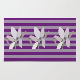 Grey Flowers-Abstract on Striped Purple Background Rug
