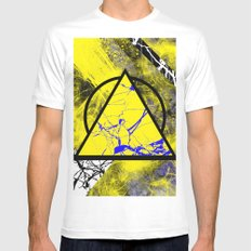 Night And Day - Blue And Yellow, Black And White, Abstract, Geometric, Marble Artwork MEDIUM White Mens Fitted Tee