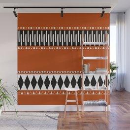 Bohemian orange, black&white tribal vibe Wall Mural