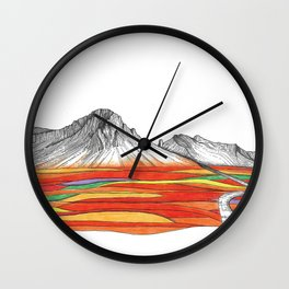 Mountain Landscape Contemporary Art, Mountain drawing, Modern Art, nature , Abstract Art, Mountains Wall Clock